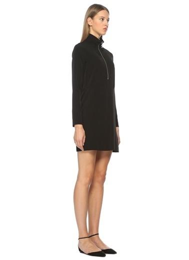 Dik Yaka Fermuarlı Mini Elbise-Academia